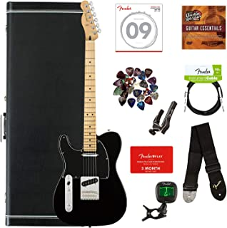 $769 » Fender Player Telecaster, Maple, Left Handed - Black Bundle with Hard Case, Cable, Tuner, Strap, Strings, Picks, Capo, Fender Play Online Lessons, and Austin Bazaar Instructional DVD
