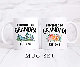 Promoted To Grandpa - Promoted to Grandma | Coffee Mug Set | New Grandparents Gift | Baby Announcement Mug | Pregnancy Reveal Gift