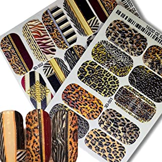 2 sheets Leopard Full Nail Decoration 5d Stereoscopic Nail Water Decals Water Transfer Unique Design