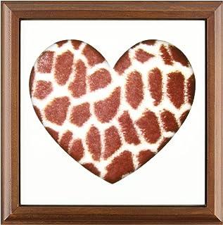 """3dRose ft_38475_1 Giraffe Print Heart-Animals-Nature-Art Framed Tile, 8 by 8"""""""