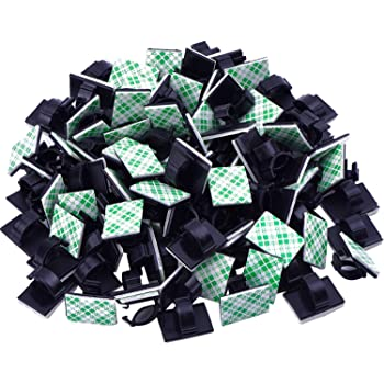 eBoot 100 Pieces Adhesive Cable Clips Wire Clips Cable Wire Management Wire Cable Holder Clamps Cable Tie Holder for Car, Office and Home