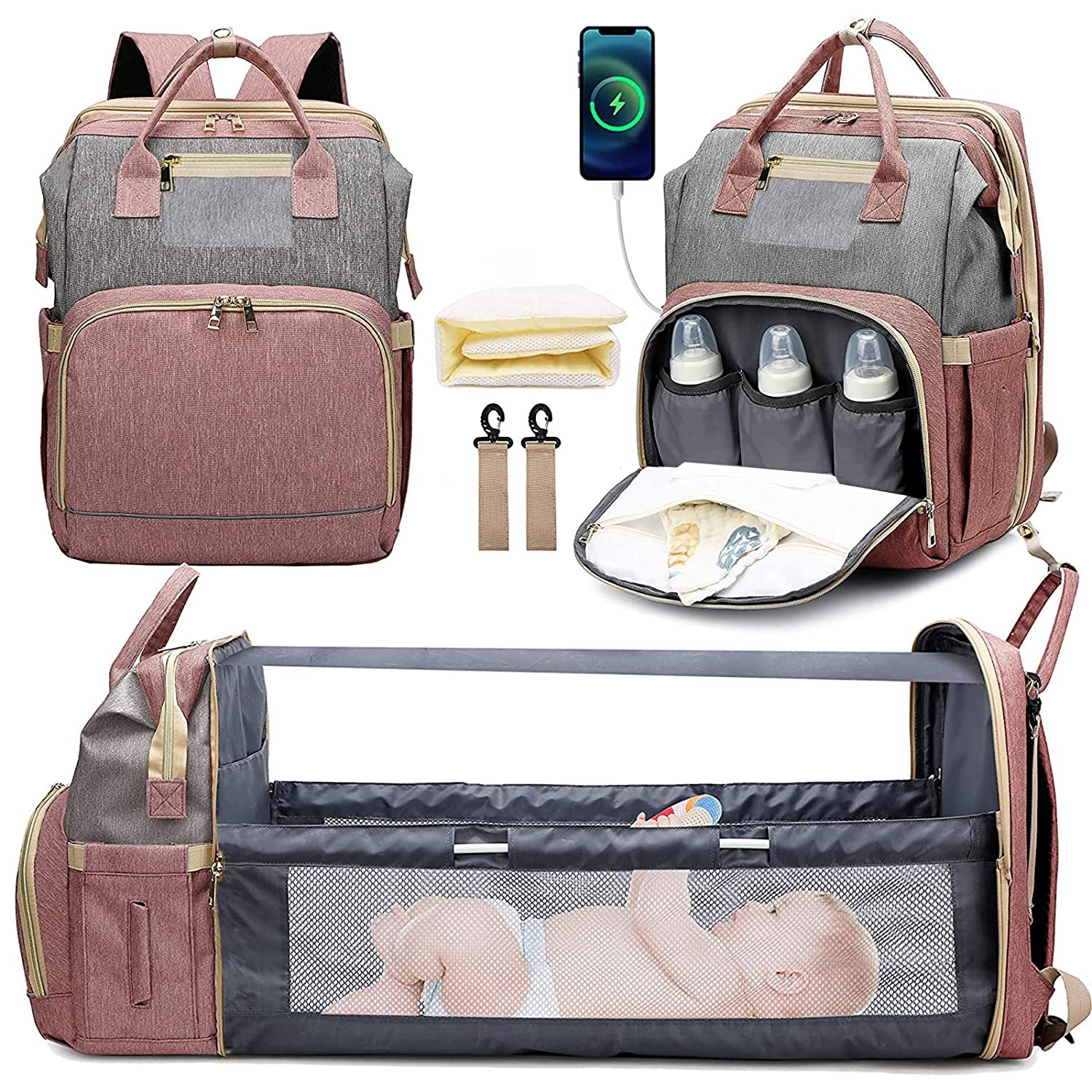 Diaper Bag Backpack with Changing Station, KABAQOO Large Baby Diaper Bags for Boys Girls, Portable Bassinets with USB Charging Port, Multifunction Waterproof Travel Back Pack for Moms Dads, Pink+Grey