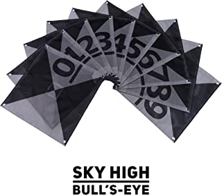 UAV Ground Control Points (GCPs)/Aerial Targets for Aerial Mapping & Surveying (10 Pack) with Center Passthrough Numbered 0-9   Harlequin Iron Cross Edition (Black & Grey)