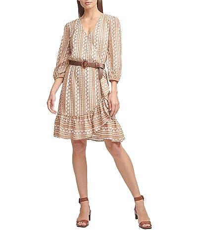 Calvin Klein Long Sleeve Faux Wrap Dress w/ Embroidery