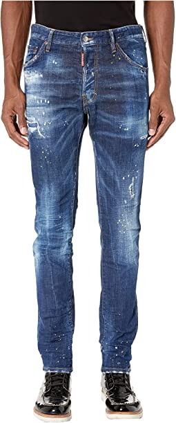 Cool Guy Jeans in Yellow Ripped Spots Wash