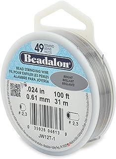 "Beadalon 49-Strand 0.024"" (0.61 mm) 100 ft (30.5 m) Bright Bead Stringing Wire"