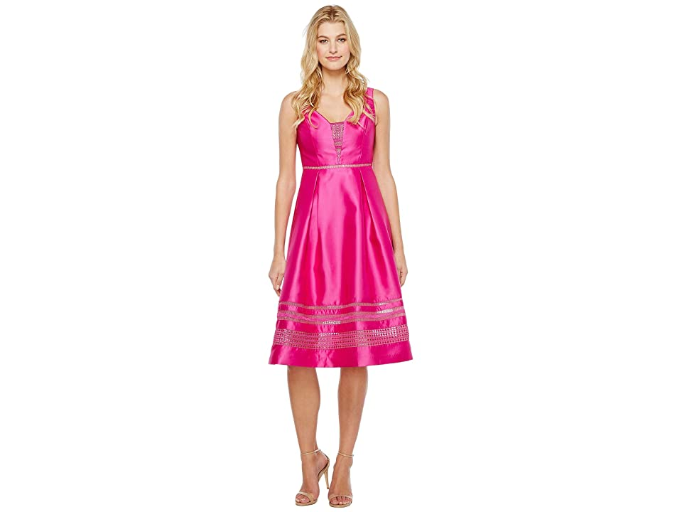 Adrianna Papell Mikado and Lace Cocktail Dress (Cool Magenta) Women
