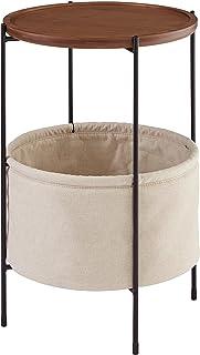 Marca Amazon -Rivet Meeks - Mesa auxiliar redonda con cesto para almacenaje (nogal y tejido crema)