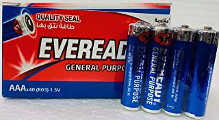 Eveready General Purpose AAA Battery (R03) (40 Pieces)
