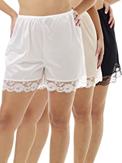 Underworks Pettipants Nylon Culotte Slip Bloomers Split Skirt 4-inch Inseam 3-Pack