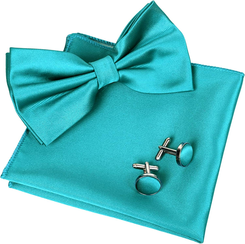 Alizeal Mens Tuxedo Bow Tie, Hanky and Cufflinks Set