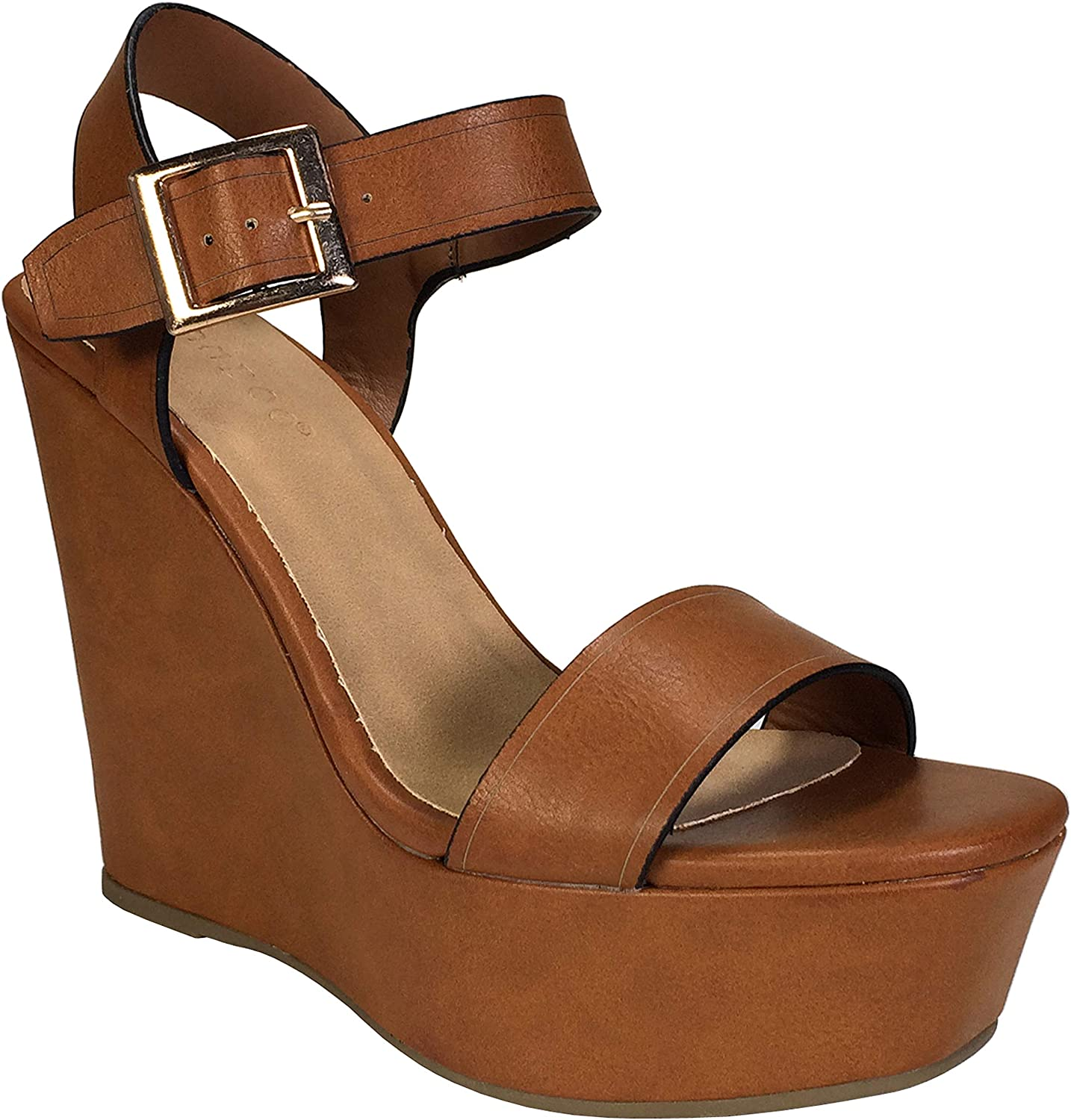 BAMBOO Women's Single Band Wedge Sandal favorite St Recommended Quarter with Platform