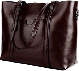 YALUXE Women's Leather Work Tote Large Shoulder Bag Purse Pocketbook