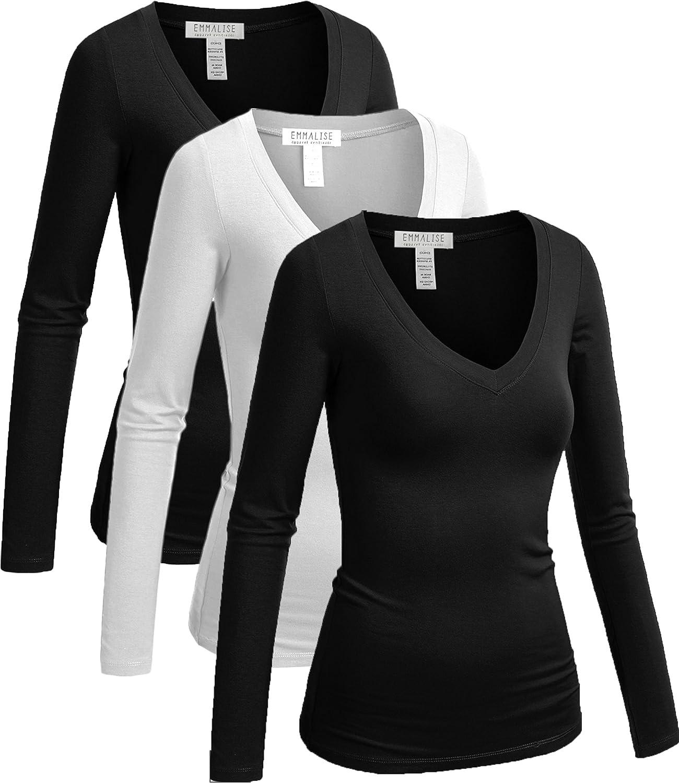 Emmalise Women's Long Sleeve VNeck TShirt 3 Pack