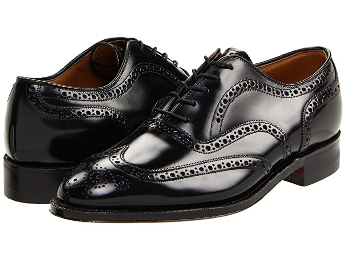 Johnston and Murphy  Waverly Wing Tip (Black) Mens Lace Up Wing Tip Shoes