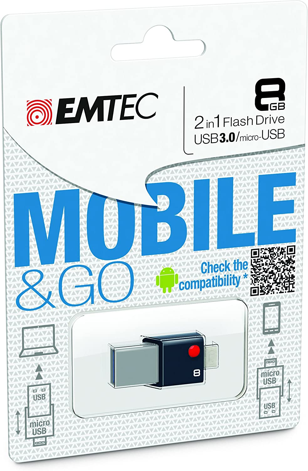 32 GB EMTEC Mobile /& Go 2 in 1 Flash Drive with USB 3.0 and Micro-USB