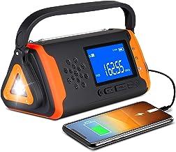 Emergency Weather Crank Radio 4000mAh - Portable, Solar Powered, Hand Crank, AM/FM/NOAA Weather Alert Radio, Aux Music Pla...