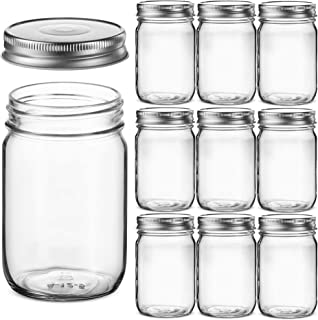 Regular Mouth Glass Mason Jars, 12 Ounce (10 Pack) Canning Jars with Silver Metal Airtight Lids for Meal Prep, Food Storag...