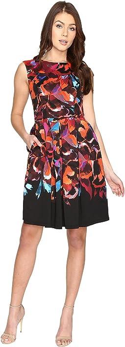 Techno Blossom Scuba Fit and Flare Dress