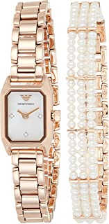 Emporio Armani Women's Mother Of Pearl Dial Stainless Steel Analog Watch - AR11323, Rose Gold