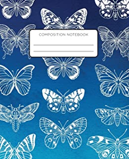 Composition Notebook: Butterflies on Blue Background. School Exercise Journal with Wide Ruled Paper for Middle, Elementary...