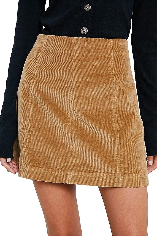 Wishlist Corduroy Mini Skirt, Taupe- Medium