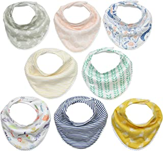 Matimati Baby Bandana Bibs for Girls with Snaps, Absorbent Drool and Teething Bibs, Stylish Prints with Pom Poms, 8-Pack (Darling Set)