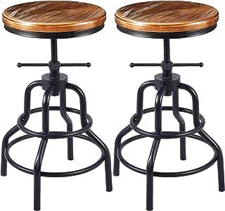 Vintage Industrial Bar Stool-Rustic Swivel Bar Stool-Round Wood Metal Stool-Kitchen Counter Height Adjustable Pipe Stool-C...