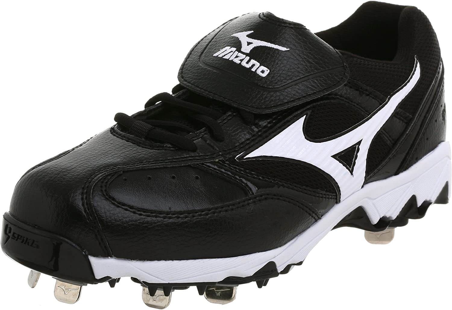 Mizuno Men's 9 Spike Vintage G5 Low Baseball Cleat,Black White,6.5 M