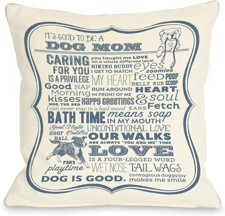 One Bella Casa Dog Mom Cream Throw Pillow, 16 by 16-Inch, bluee
