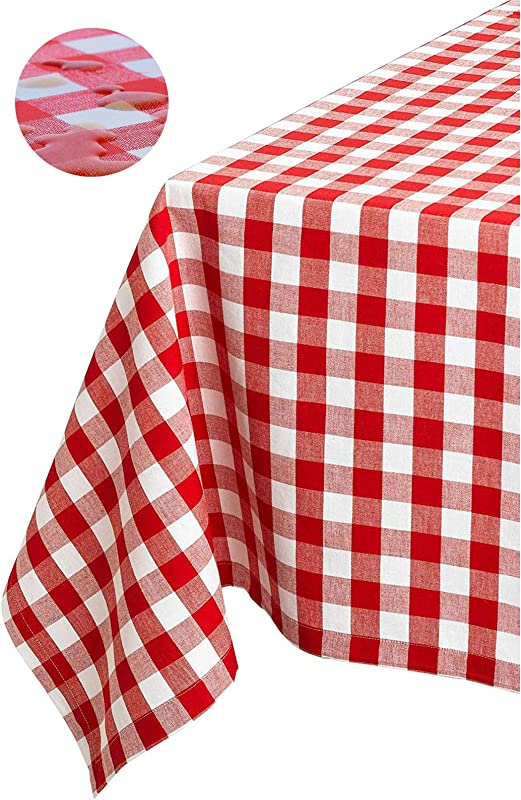 Tektrum 100 Polyester Waterproof 60 X 102 Inch 60 X102 Rectangular Checker Checkered Tablecloth Table Cover Spill Proof Stain Resistant Wrinkle Free For Camping Picnic Restaurant Red And White