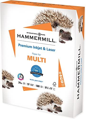 Hammermill Printer Paper, Premium Inkjet & Laser Paper 24 lb, 8.5 x 11 - 1 Ream (500 Sheets) - 97 Bright, Made in the...