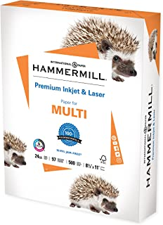 Hammermill Printer Paper, Premium Inkjet & Laser Paper 24 Lb, 8.5 x 11 - 1 Ream (500 Sheets) - 97 Bright, Made in the USA,...
