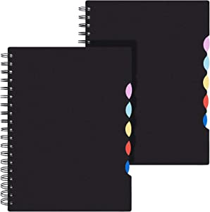 """EOOUT B5 Tabbed Spiral Notebook, Lined Journals, Ruled Notebooks with Colored Dividers, 10""""×7.5"""", 290 Pages, Memo Planner for School Office Supplies"""