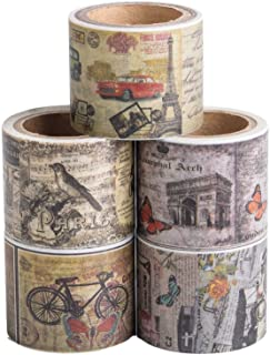 Antique Washi Tape Set (Japanese Masking Tape) by MIKOKA, 1.2 Inches Wide, 16.4 Feet Long, 5 Rolls - Vintage Wide