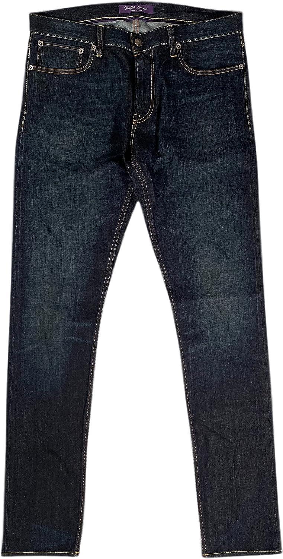 Men's Purple Label Slim FIT Dark WASH Italian Cotton Stretch Denim Jeans 36 Length