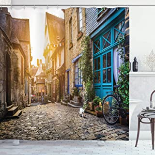 Ambesonne Wanderlust Decor Collection, Old Town in Europe at Sunset Retro Vintage Coffee Shop Blossoms Cat Alleyway, Polyester Fabric Bathroom Shower Curtain, 84 Inches Extra Long, Brown Teal