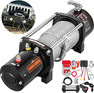 VEVOR Truck Winch 9500Ibs Electric Winch 85ft/26m Cable Steel 12V Power Winch Jeep Winch with Wireless Remote Control and Powerful Motor for UTV ATV & Jeep Truck and Wrangler Accessories in Car Lift