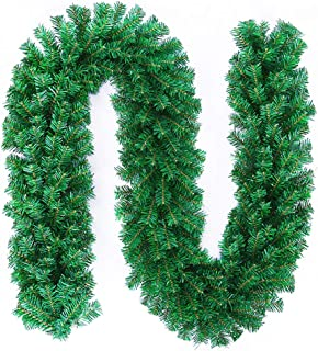 MeetUs 9 ft Artificial Holiday Garland for Christmas Decorations - Soft Green Holiday Decor for Outdoor or Indoor Use - Home Garden Artificial Greenery Wedding Party Decorations,200 Branches