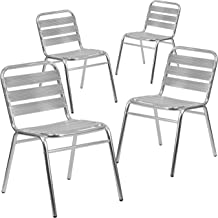 Flash Furniture 4 Pk. Commercial Aluminum Indoor-Outdoor Restaurant Stack Chair with Triple Slat Back
