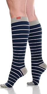VIM & VIGR Women's 15-20 mmHg Compression Socks: Nautical Stripes - Blue & Lavender (Nylon) (Small)