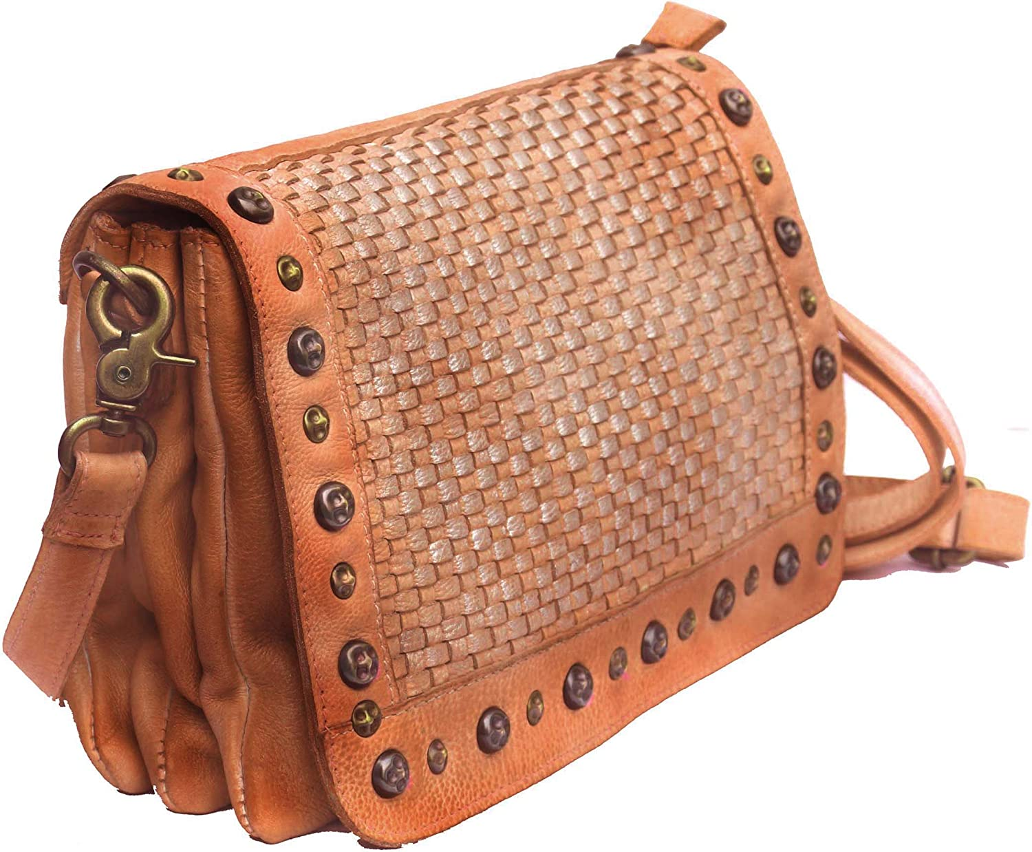 Vannamoda Women's Crossbody Leather HandWeave Bag