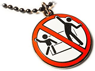 No Standing Disco Dancing Ride Sign Disney Fantasy Pendant Necklace with Ball Chain