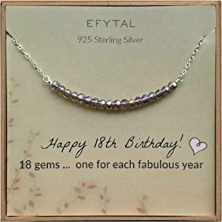 18th Birthday Gifts for Girls, Sterling Silver Necklace, 18 Beads for 18 Year Old Girl, Jewelry Gift Idea