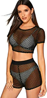 SweatyRocks Women's Sexy 2 Pieces Fishnet Crop Top with Shorts Outfit Set