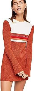 Womens Linen Colorblock Sweaterdress