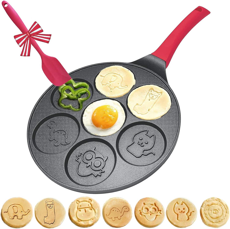 Pancake Pan Nonstick for Kids - Animal Pancake Griddle Pan - Nonstick Pancake Maker for Kids - Mini Pancake Pan Pana Para Pancakes Pan Crep Pan with 6 inch Handle