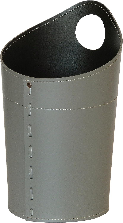 AMBROGIO  Papierkorb aus Leder Farbe Taubengrau, Leder Papierkorb für Büro Badezimmer küche Schlafzimmer, Made in  by Limac Design®. B01MTC3ZHI | Guter Markt