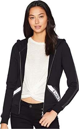 Long Sleeve Rhinestones Logo Hoodie
