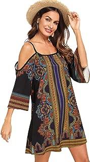 Women's Tribal Print Kimono Sleeve Geometric Tunic Boho Dress